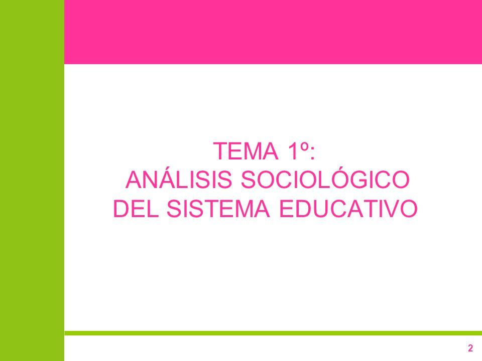TEMA 1º: ANÁLISIS SOCIOLÓGICO DEL SISTEMA EDUCATIVO