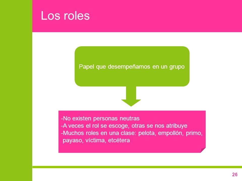 Los roles Papel que desempeñamos en un grupo