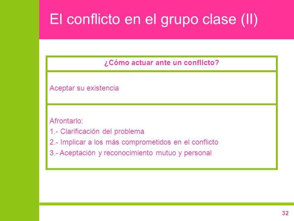 El conflicto en el grupo clase (II)