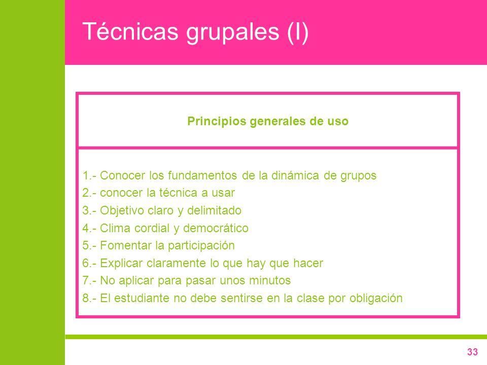 Principios generales de uso