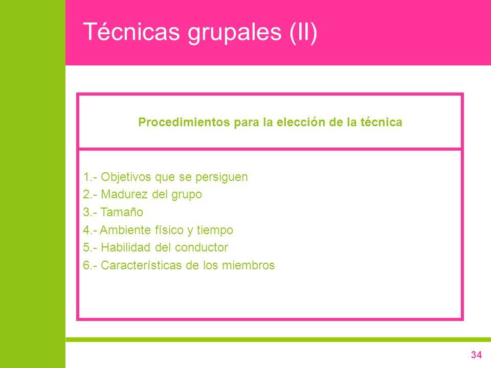 Técnicas grupales (II)