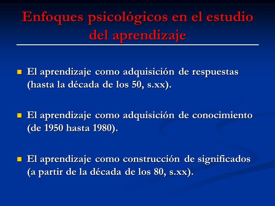 Enfoques psicológicos en el estudio del aprendizaje