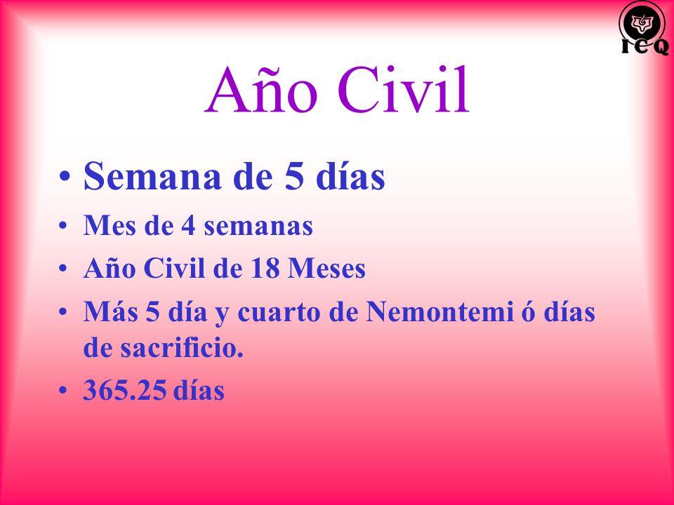 Año Civil Semana de 5 días Mes de 4 semanas Año Civil de 18 Meses