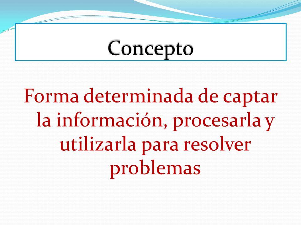 ConceptoForma determinada de captar la información, procesarla y utilizarla para resolver problemas.