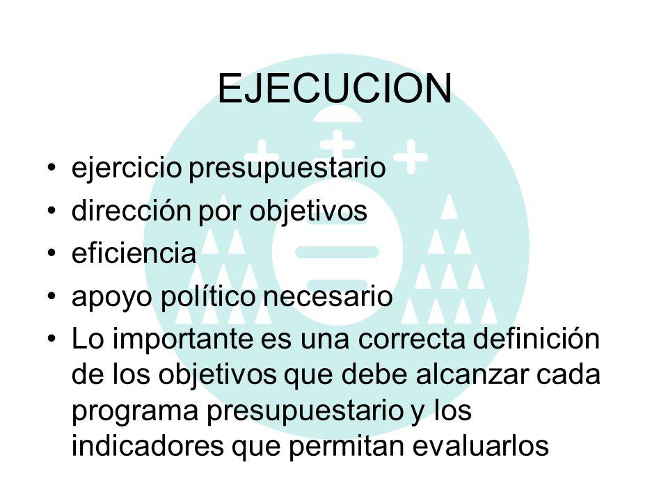 EJECUCION ejercicio presupuestario dirección por objetivos eficiencia