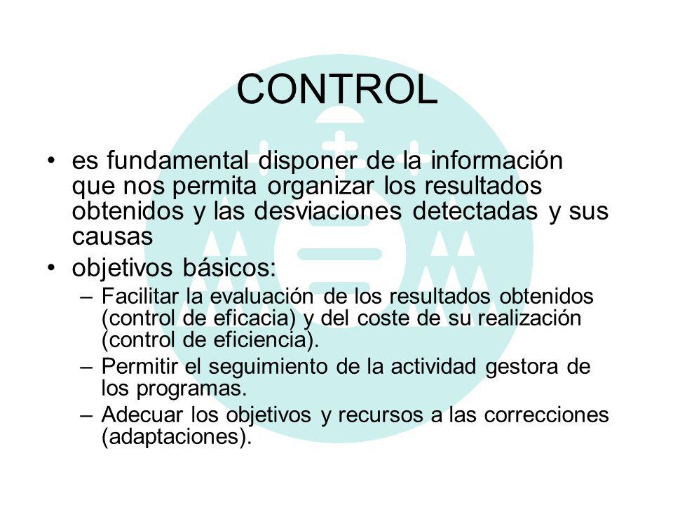 CONTROL es fundamental disponer de la información que nos permita organizar los resultados obtenidos y las desviaciones detectadas y sus causas.