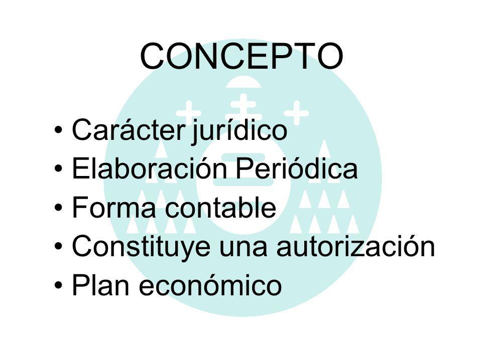 CONCEPTO Carácter jurídico Elaboración Periódica Forma contable