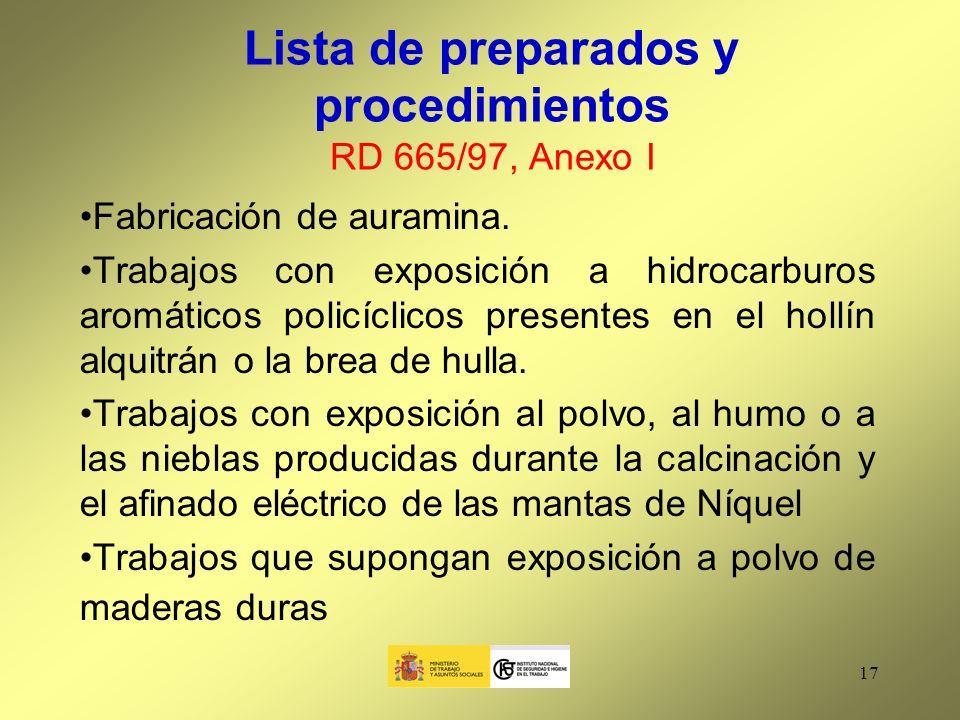 Lista de preparados y procedimientos RD 665/97, Anexo I