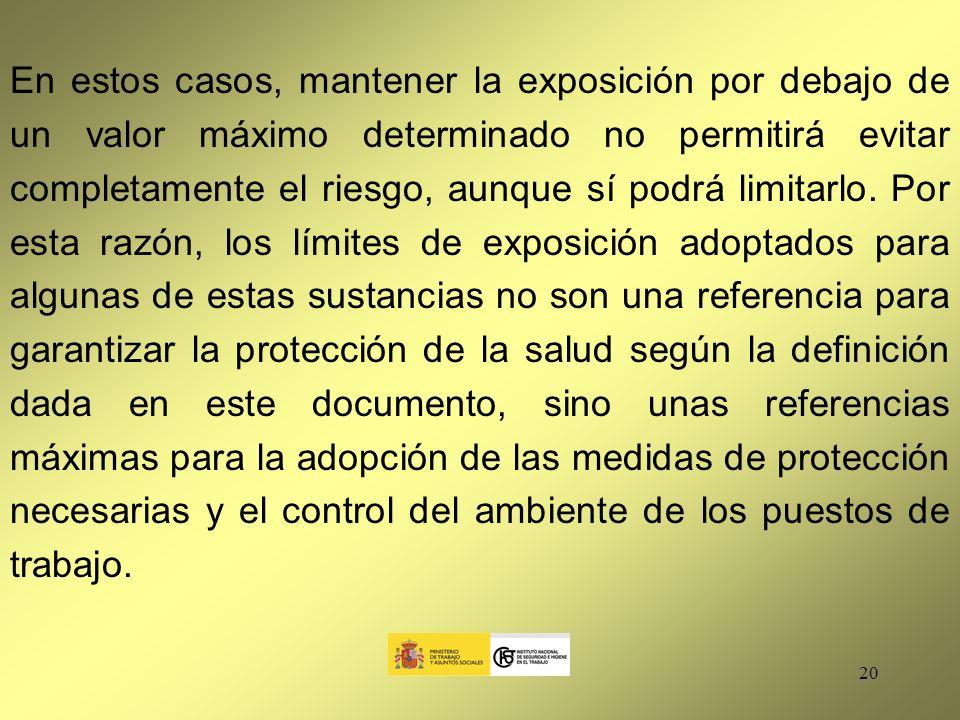 En estos casos, mantener la exposición por debajo de un valor máximo determinado no permitirá evitar completamente el riesgo, aunque sí podrá limitarlo.