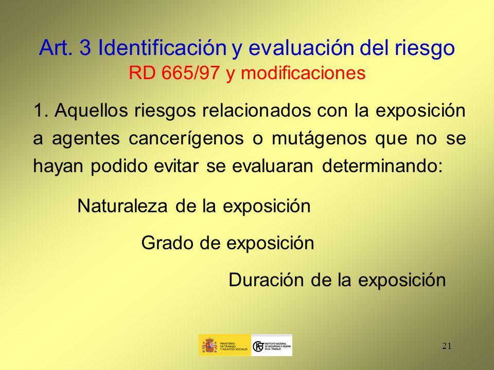 Art. 3 Identificación y evaluación del riesgo RD 665/97 y modificaciones