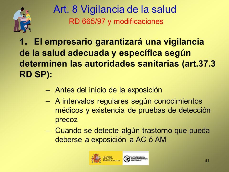 Art. 8 Vigilancia de la salud RD 665/97 y modificaciones