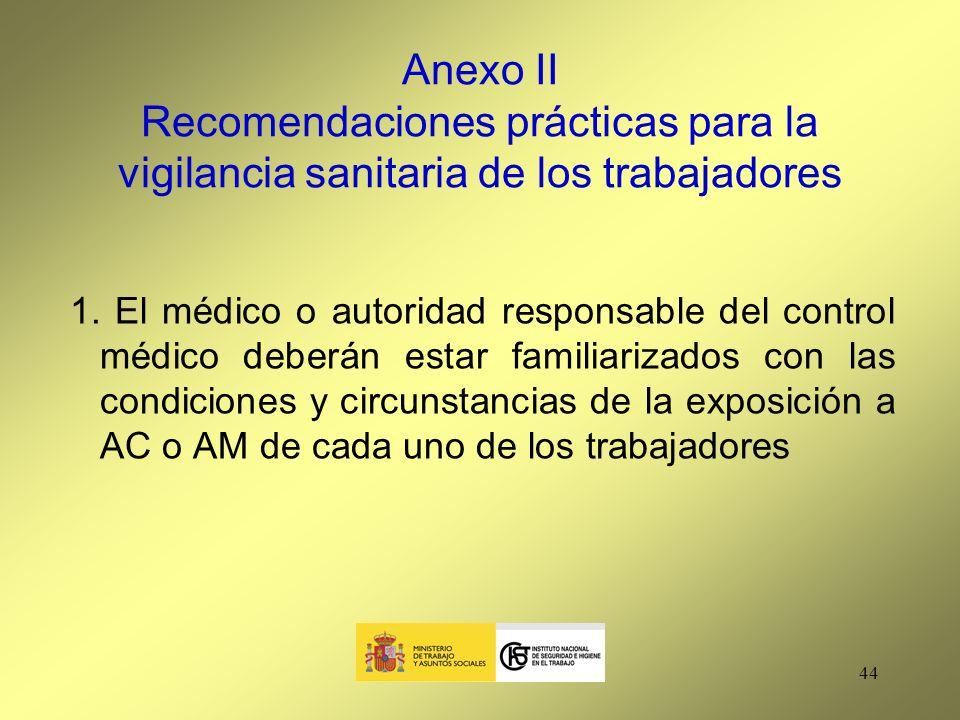 Anexo II Recomendaciones prácticas para la vigilancia sanitaria de los trabajadores