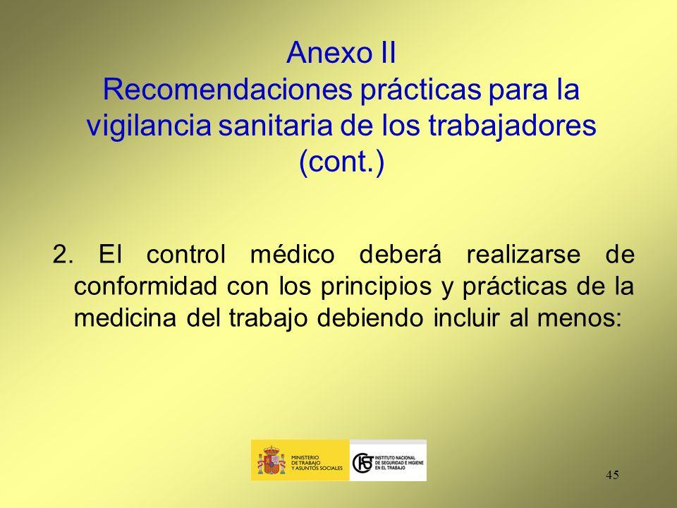 Anexo II Recomendaciones prácticas para la vigilancia sanitaria de los trabajadores (cont.)