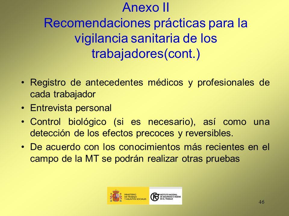 Anexo II Recomendaciones prácticas para la vigilancia sanitaria de los trabajadores(cont.)