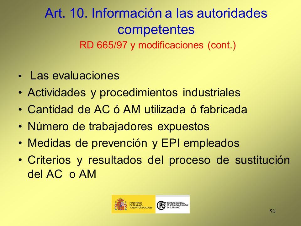 Art. 10. Información a las autoridades competentes RD 665/97 y modificaciones (cont.)