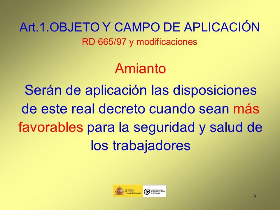 Art.1.OBJETO Y CAMPO DE APLICACIÓN RD 665/97 y modificaciones