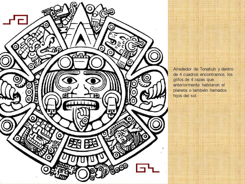 Alrededor de Tonatiuh y dentro de 4 cuadros encontramos los glifos de 4 razas que anteriormente habitaron el planeta o también llamados hijos del sol.