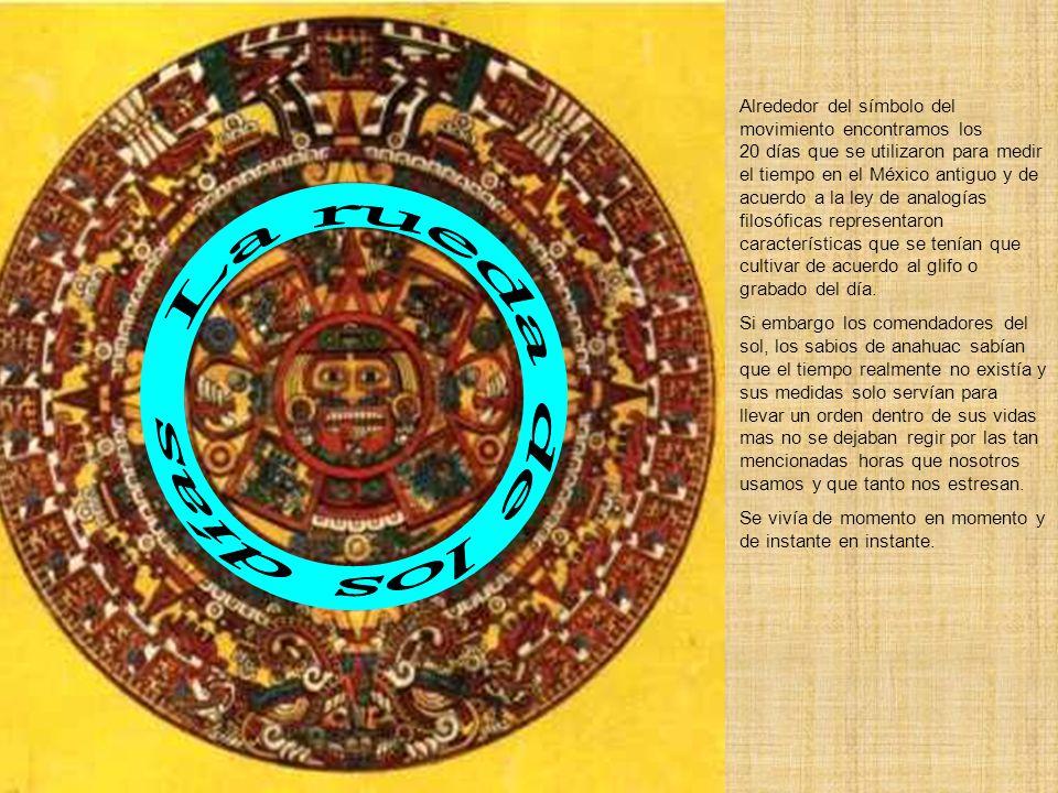 Alrededor del símbolo del movimiento encontramos los 20 días que se utilizaron para medir el tiempo en el México antiguo y de acuerdo a la ley de analogías filosóficas representaron características que se tenían que cultivar de acuerdo al glifo o grabado del día.