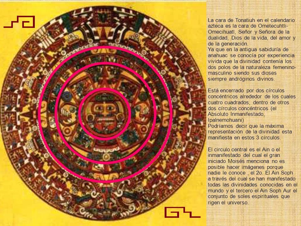 La cara de Tonatiuh en el calendario azteca es la cara de Ometecuhtli-Omecihuatl, Señor y Señora de la dualidad, Dios de la vida, del amor y de la generación.