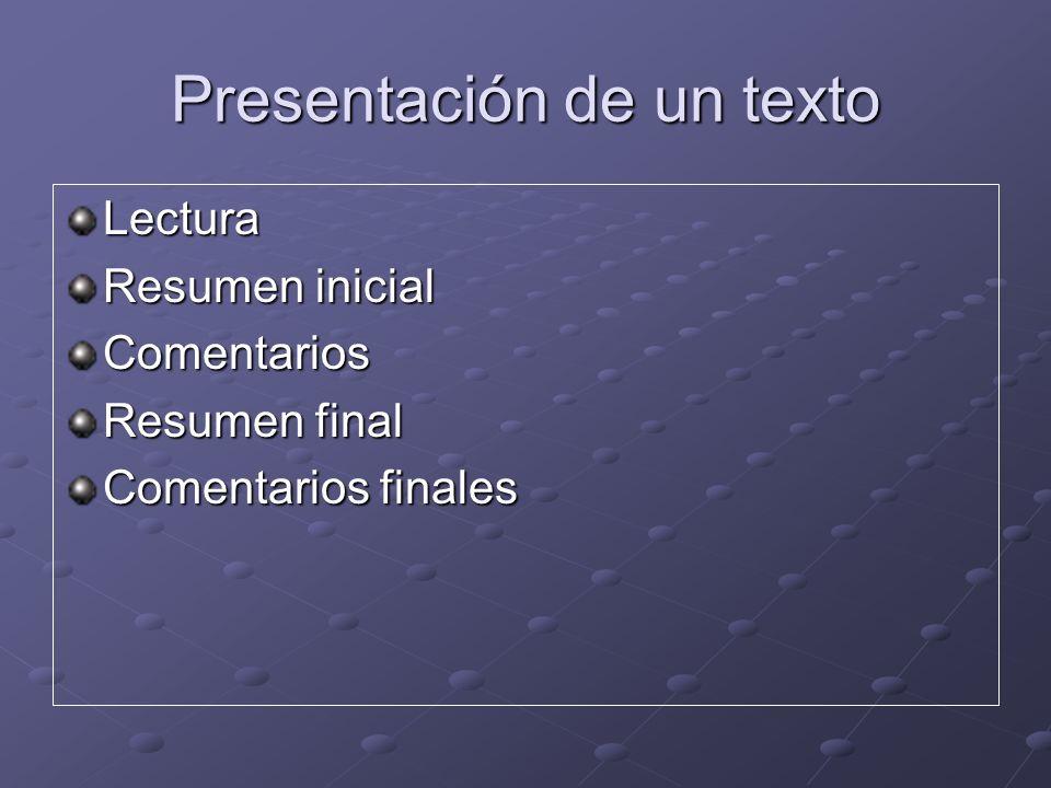 Presentación de un texto