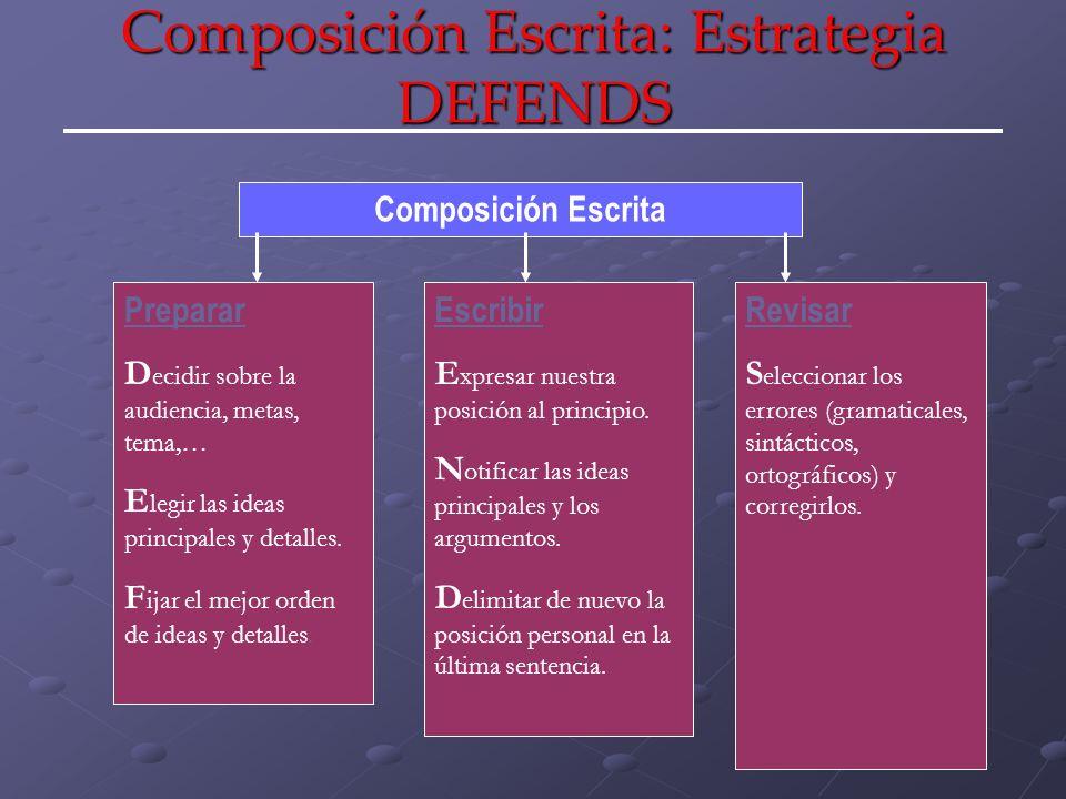 Composición Escrita: Estrategia DEFENDS