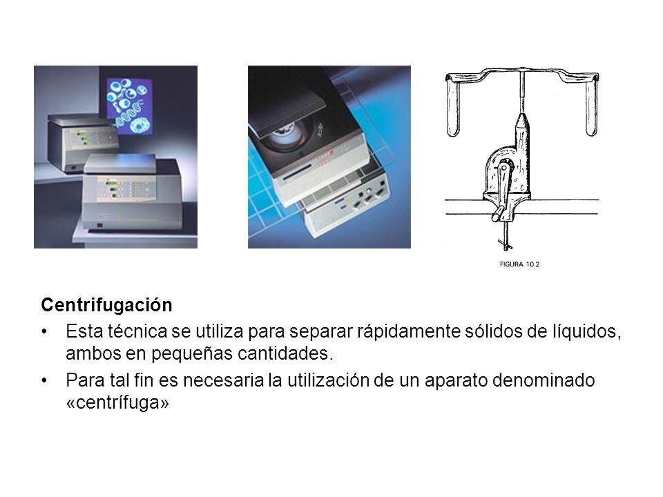 Centrifugación Esta técnica se utiliza para separar rápidamente sólidos de líquidos, ambos en pequeñas cantidades.