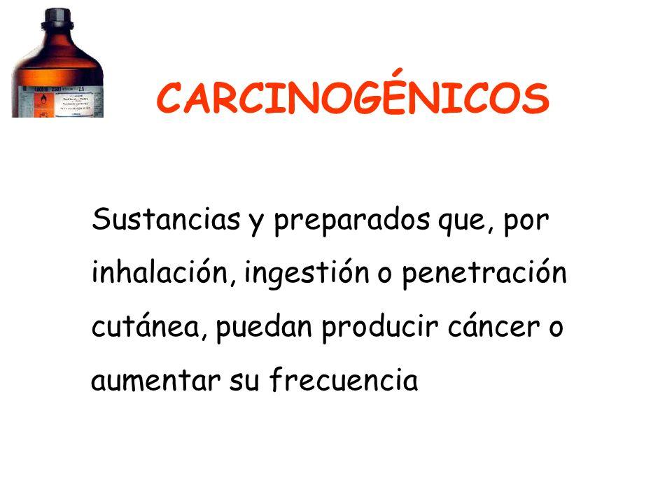 CARCINOGÉNICOS Sustancias y preparados que, por inhalación, ingestión o penetración cutánea, puedan producir cáncer o aumentar su frecuencia.