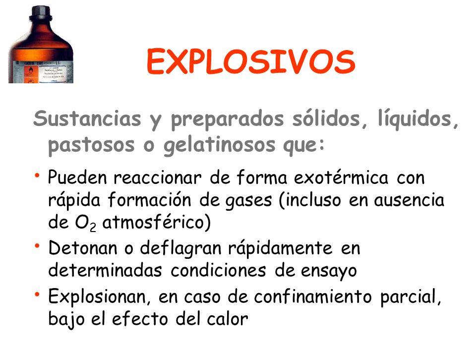 EXPLOSIVOS Sustancias y preparados sólidos, líquidos, pastosos o gelatinosos que: