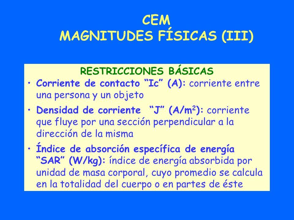 MAGNITUDES FÍSICAS (III) RESTRICCIONES BÁSICAS
