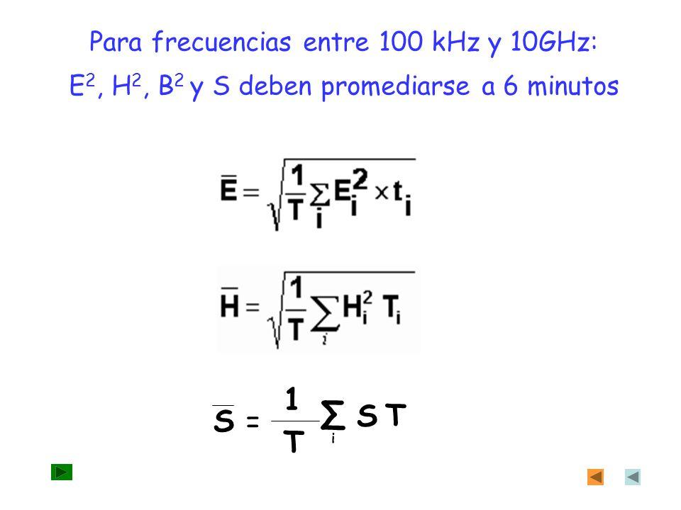 ∑ 1 S T S = T Para frecuencias entre 100 kHz y 10GHz: