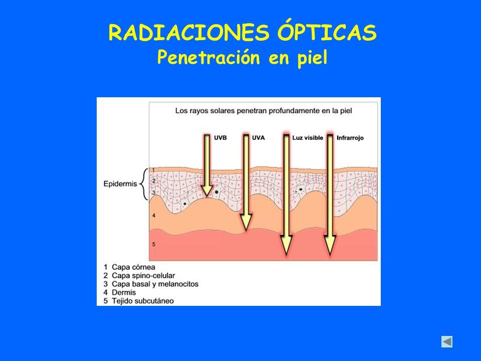 RADIACIONES ÓPTICAS Penetración en piel