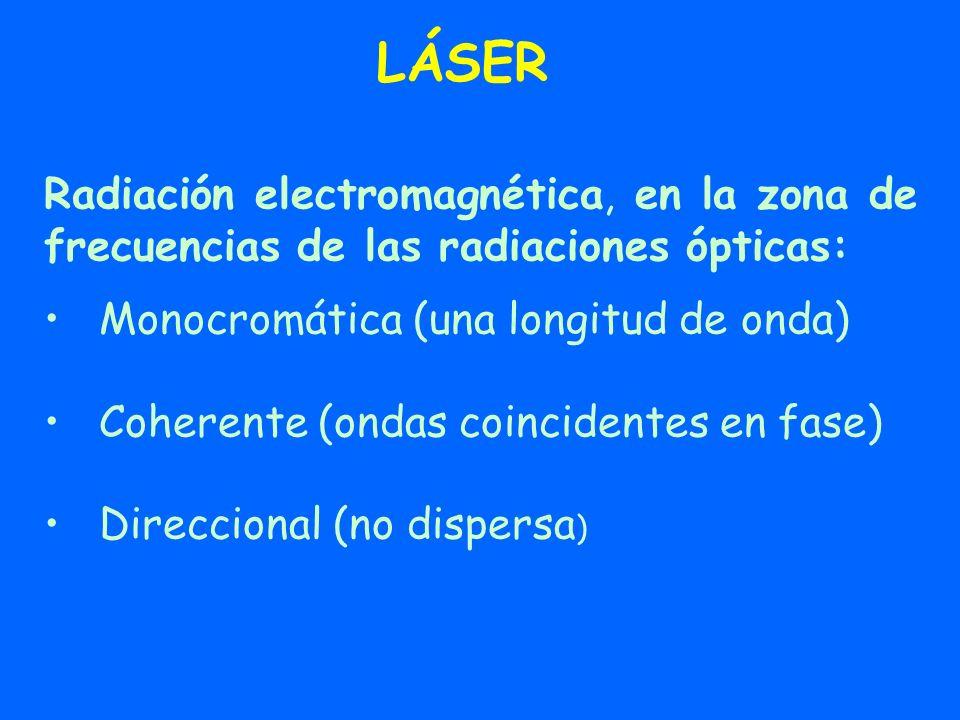 LÁSERRadiación electromagnética, en la zona de frecuencias de las radiaciones ópticas: Monocromática (una longitud de onda)