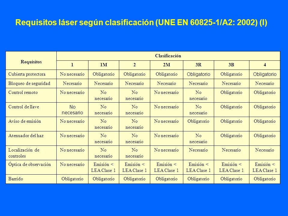 Requisitos láser según clasificación (UNE EN 60825-1/A2: 2002) (I)
