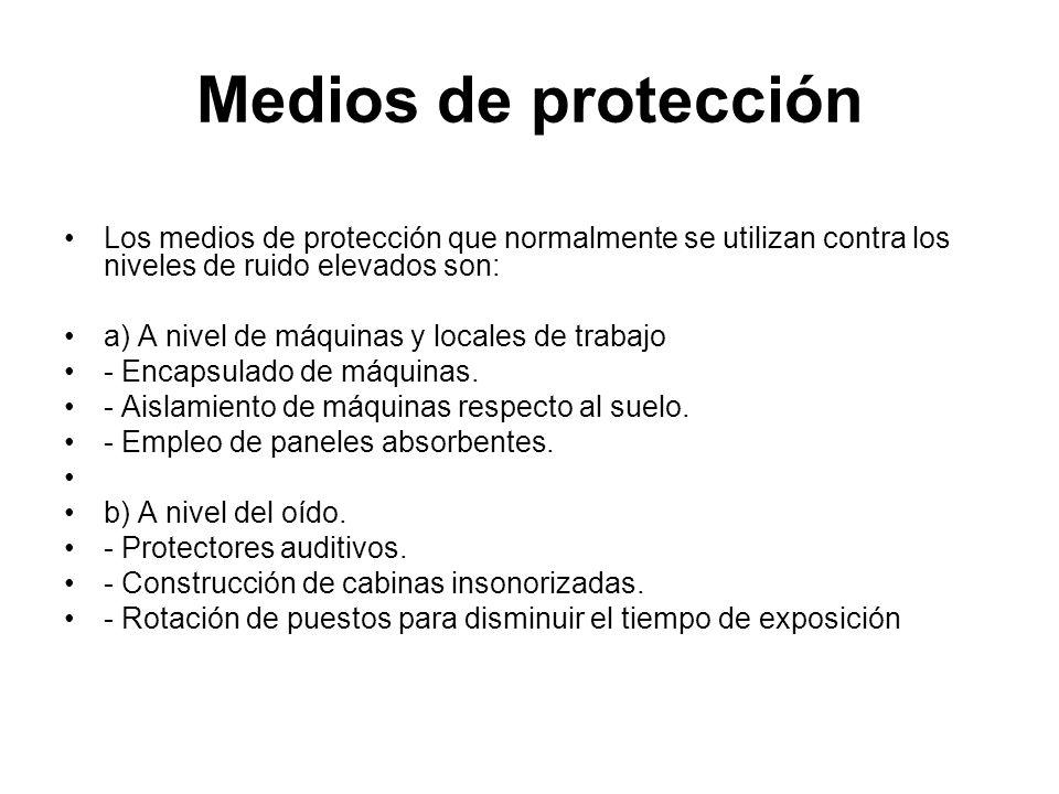 Medios de protecciónLos medios de protección que normalmente se utilizan contra los niveles de ruido elevados son: