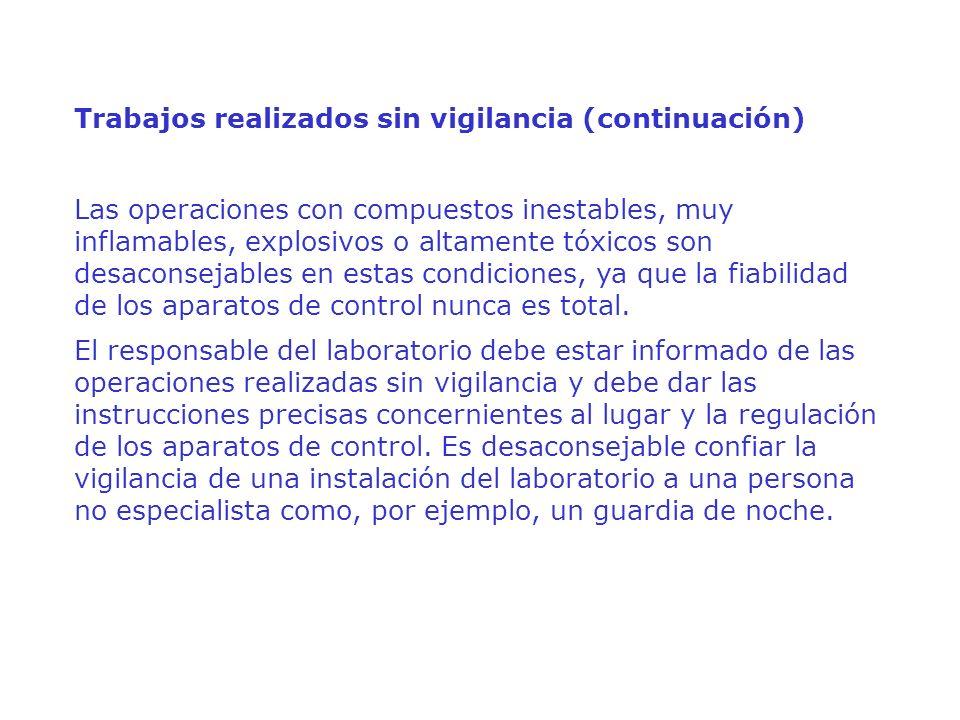 Trabajos realizados sin vigilancia (continuación)
