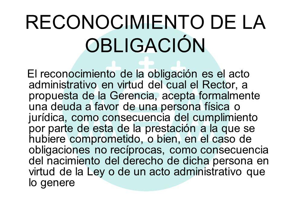 RECONOCIMIENTO DE LA OBLIGACIÓN