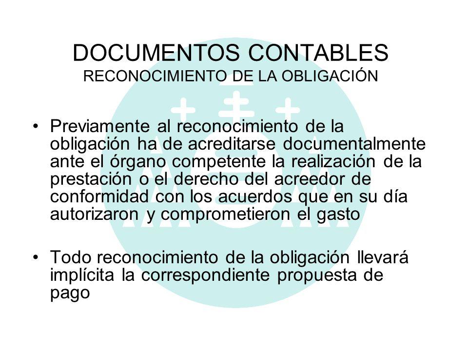 DOCUMENTOS CONTABLES RECONOCIMIENTO DE LA OBLIGACIÓN