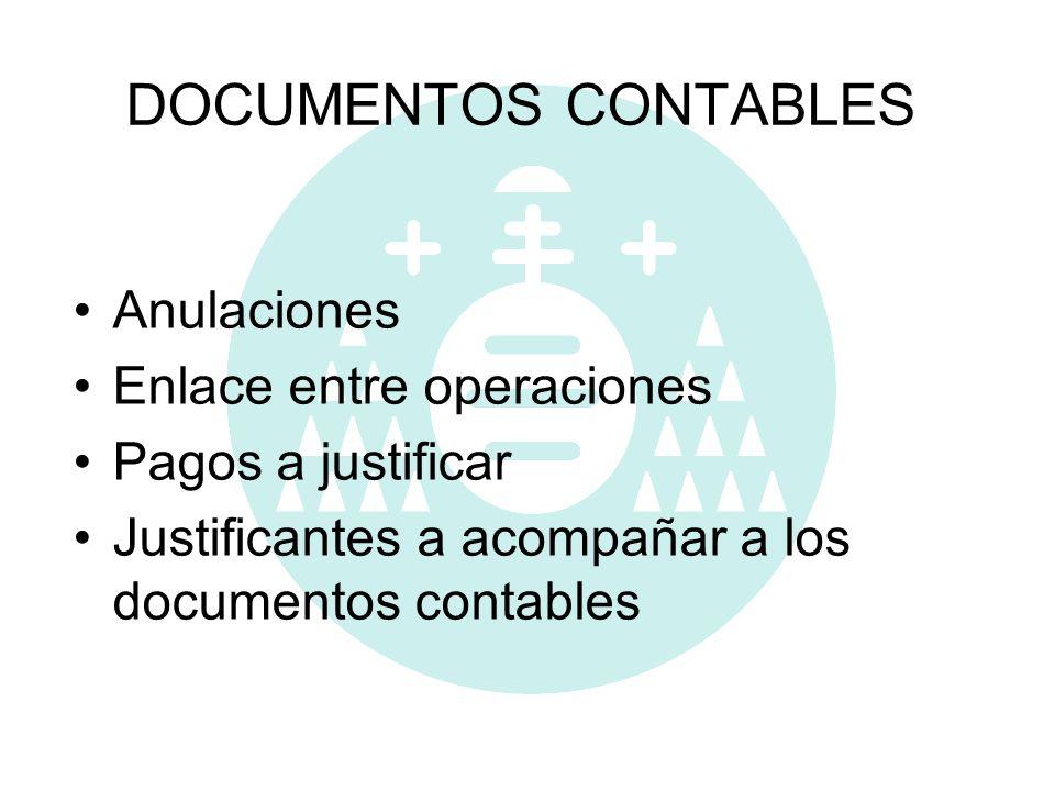 DOCUMENTOS CONTABLES Anulaciones Enlace entre operaciones