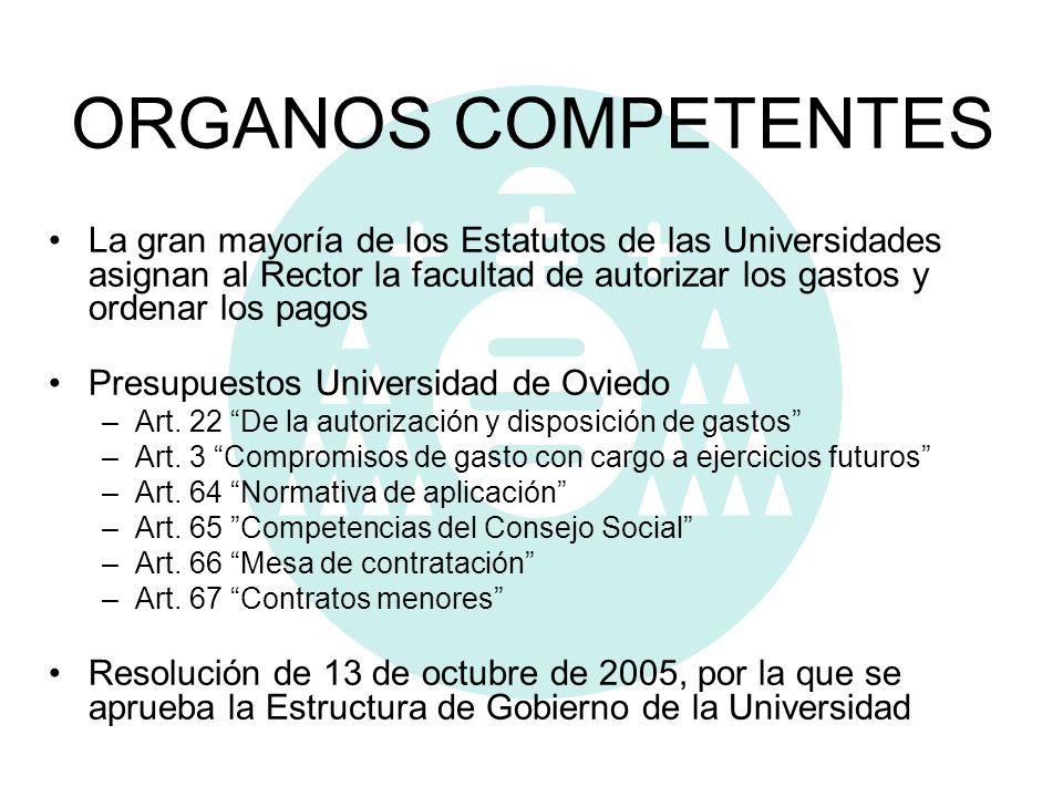ORGANOS COMPETENTES La gran mayoría de los Estatutos de las Universidades asignan al Rector la facultad de autorizar los gastos y ordenar los pagos.