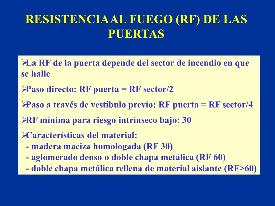RESISTENCIA AL FUEGO (RF) DE LAS PUERTAS