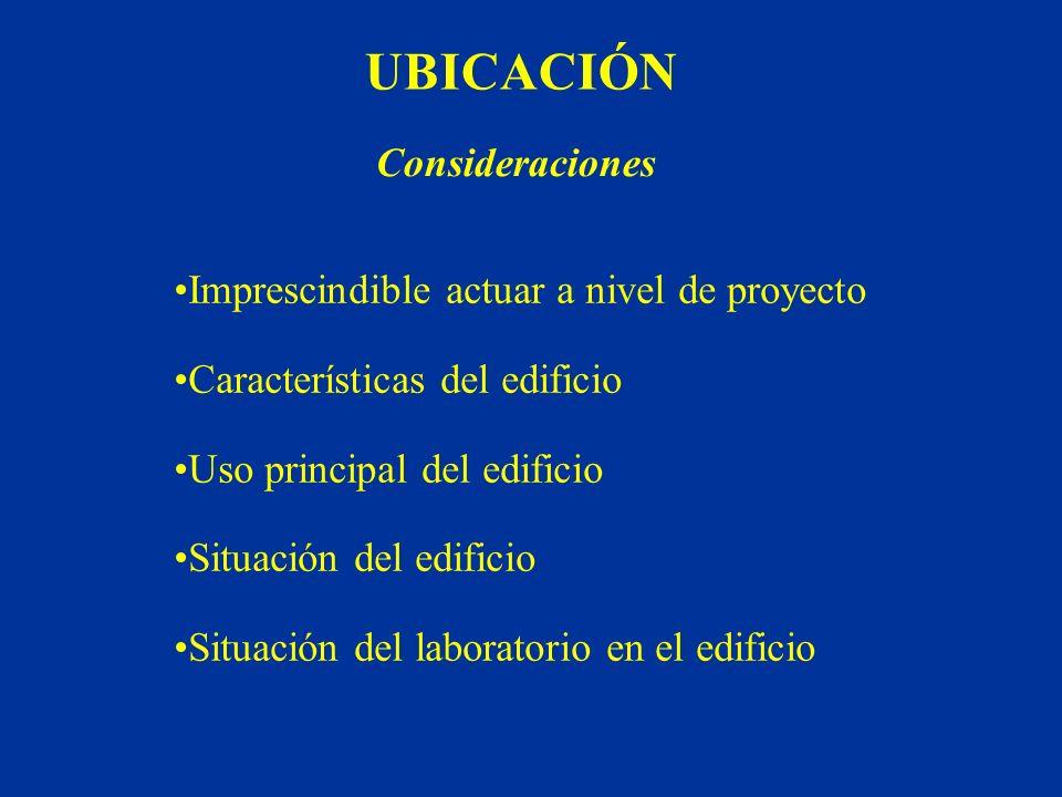 UBICACIÓN Consideraciones Imprescindible actuar a nivel de proyecto