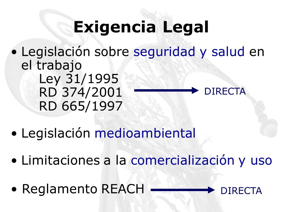 Exigencia Legal Legislación sobre seguridad y salud en el trabajo