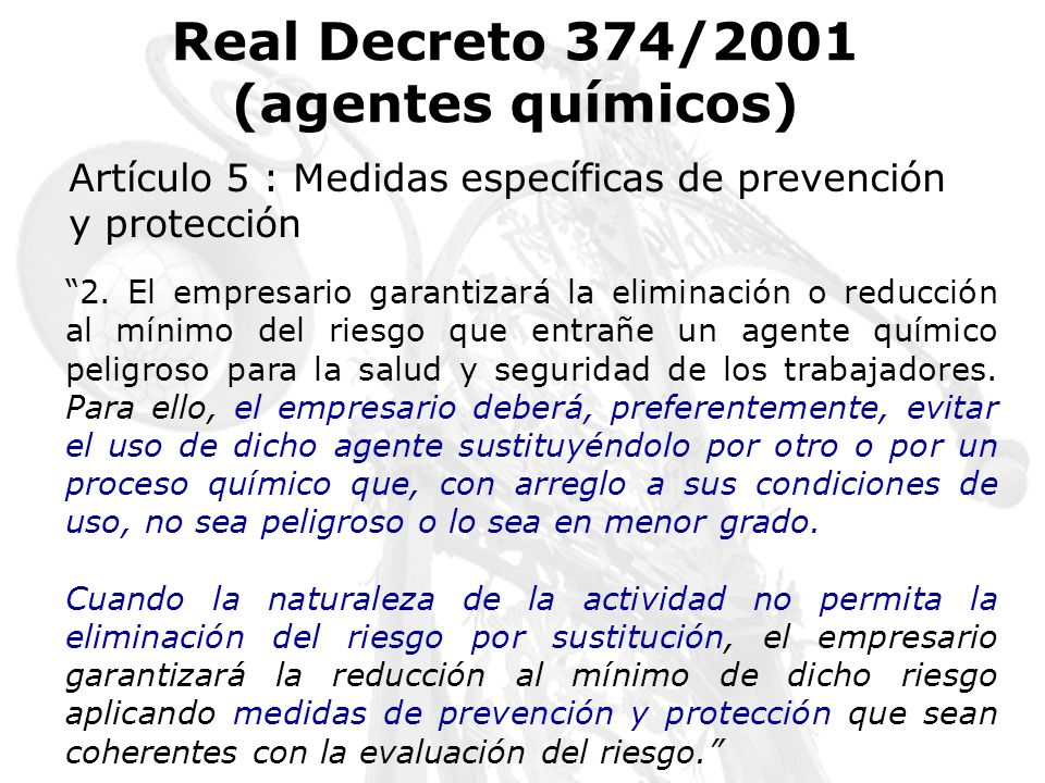 Real Decreto 374/2001 (agentes químicos)