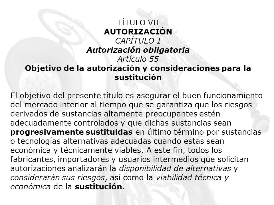 Autorización obligatoria Artículo 55