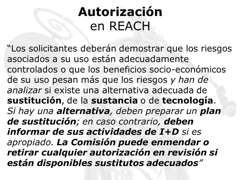 Autorizaciónen REACH.
