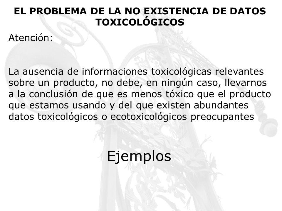 EL PROBLEMA DE LA NO EXISTENCIA DE DATOS TOXICOLÓGICOS