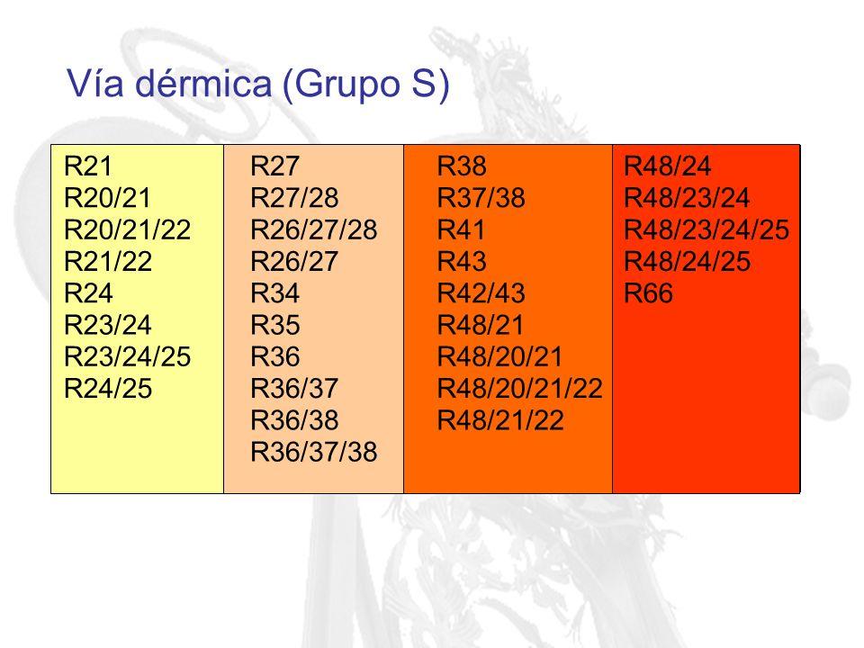 Vía dérmica (Grupo S) R21 R27 R38 R48/24 R20/21 R27/28 R37/38