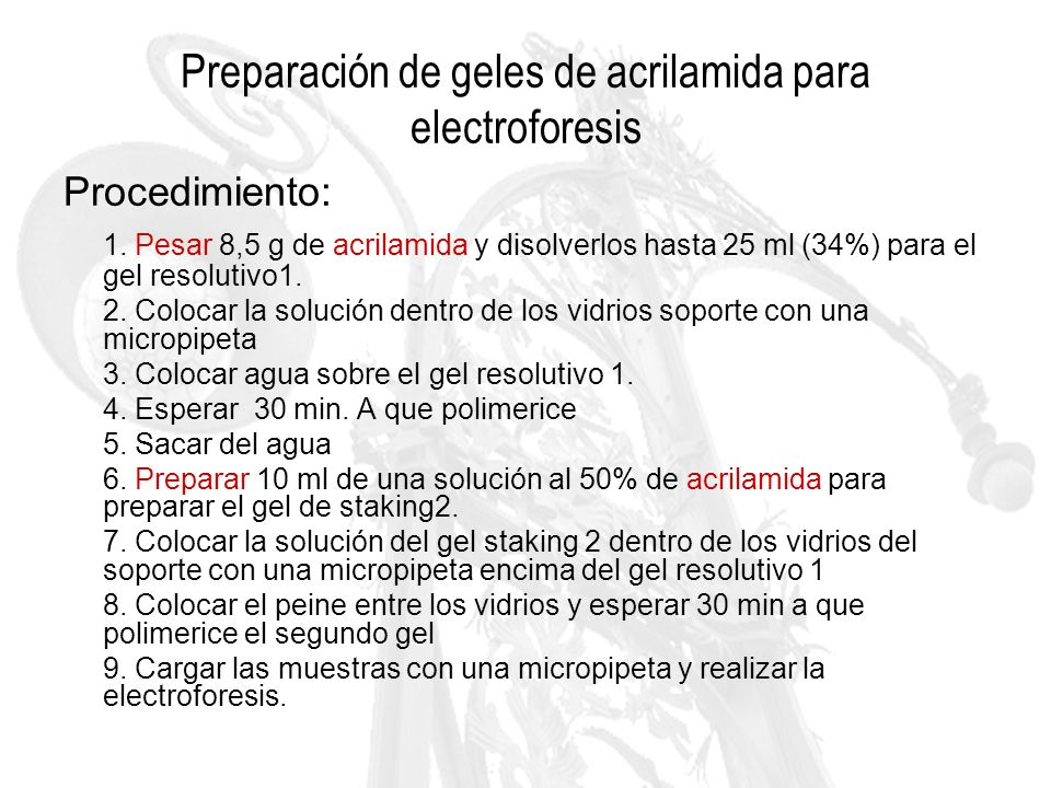 Preparación de geles de acrilamida para electroforesis