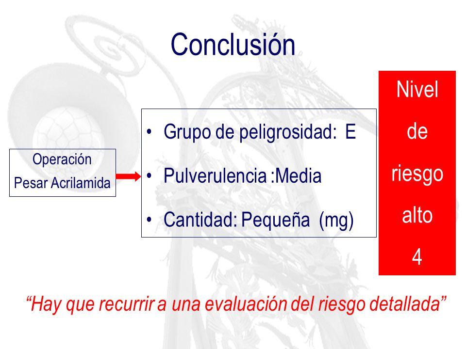 Conclusión Nivel de riesgo alto 4 Grupo de peligrosidad: E
