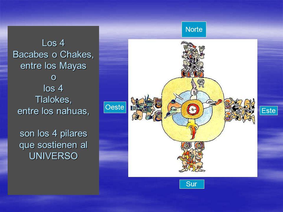 Norte Los 4 Bacabes o Chakes, entre los Mayas o los 4 Tlalokes, entre los nahuas, son los 4 pilares que sostienen al UNIVERSO.